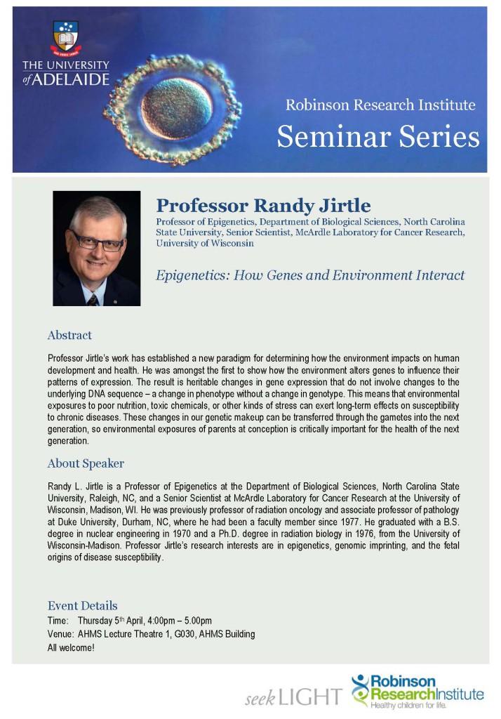 RRI Seminar Flyer - Prof Randy Jirtle