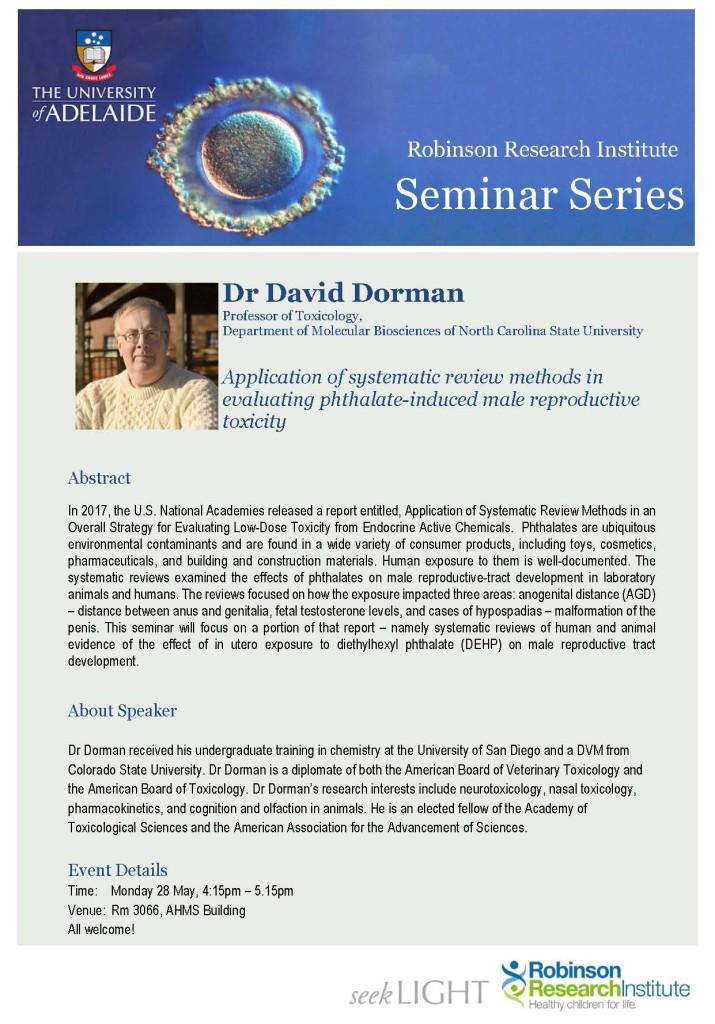 RRI Seminar Flyer - Dr David Dorman